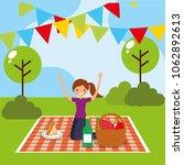 happy people picnic   Shutterstock .eps vector #1062892613