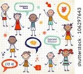 hand drawn children and speech... | Shutterstock .eps vector #106297643