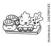 line kawaii cute tasty japanese ... | Shutterstock .eps vector #1062989183