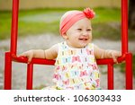 cute little girl playing on the ... | Shutterstock . vector #106303433
