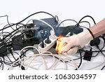 concept of ignition of cables... | Shutterstock . vector #1063034597