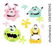 set of funny monsters  microbes ... | Shutterstock .eps vector #1063078343