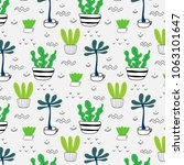 pattern with hand drawn plants... | Shutterstock .eps vector #1063101647