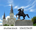 Statue Of Andrew Jackson With Saint Louis Cathedral In Background, French Quarter, New Orleans, Louisiana - stock photo