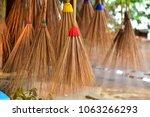 vintage brooms coconut leaf... | Shutterstock . vector #1063266293