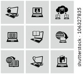 Education technology related icons set. Education online. - stock vector