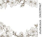 almond blossom branch border.... | Shutterstock .eps vector #1063299467