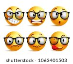 smileys vector set of yellow... | Shutterstock .eps vector #1063401503