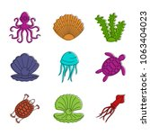 sea creature icon set. color... | Shutterstock .eps vector #1063404023