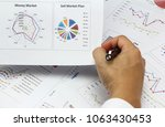 Small photo of Businessman Summary report and sell market plan analyzing financial money market plan Review accounting data and calculate production income.
