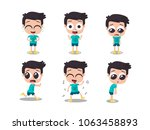 illustration of boy showing... | Shutterstock .eps vector #1063458893