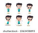 illustration of boy showing... | Shutterstock .eps vector #1063458893