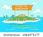 an island resort is closed for...   Shutterstock .eps vector #1063472177