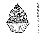 cupcake with whipped cream | Shutterstock .eps vector #1063483763