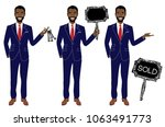 real estate agent in three... | Shutterstock .eps vector #1063491773
