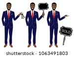 real estate agent in three... | Shutterstock .eps vector #1063491803