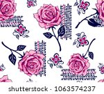 roses pattern decorative... | Shutterstock .eps vector #1063574237