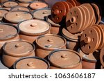 old clay pots on the market in...   Shutterstock . vector #1063606187