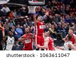 Small photo of Italy, Milan, april 05 2018: Jerrells Curtis jumps high and takes rebound during basketball match AX ARMANI EXCHANGE OLIMPIA MILAN vs PANATHINAIKOS ATHENS, EuroLeague 2018, Mediolanum Forum