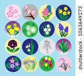 colorful spring flowers set ... | Shutterstock .eps vector #1063649273