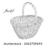 ink drawing black line easter... | Shutterstock .eps vector #1063709693
