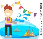 songkran festival summer in... | Shutterstock .eps vector #1063711013