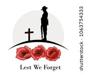 anzac day banner  silhouette of ... | Shutterstock .eps vector #1063754333