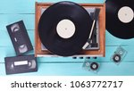 vintage vinyl player with... | Shutterstock . vector #1063772717