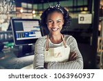 smiling young african waitress... | Shutterstock . vector #1063960937