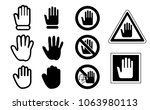 stop hand hands no touch icon...   Shutterstock .eps vector #1063980113