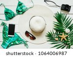 bikini suit  hat  sunglasses ... | Shutterstock . vector #1064006987
