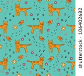 seamless pattern with birds and cats. Can be used for wallpaper, pattern fills, web page background, surface textures. - stock vector