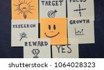 many notes on the blackboard.... | Shutterstock . vector #1064028323