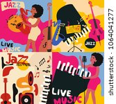 set of colorful music cards and ... | Shutterstock .eps vector #1064041277