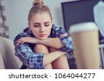 unhappy lonely depressed... | Shutterstock . vector #1064044277
