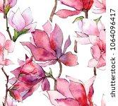 pink magnolia. floral botanical ... | Shutterstock . vector #1064096417