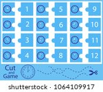 puzzle with clock and numbers.... | Shutterstock .eps vector #1064109917