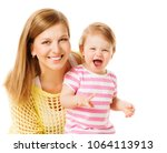 mother and kid girl  happy mom... | Shutterstock . vector #1064113913