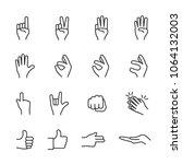 vector image set of hands in... | Shutterstock .eps vector #1064132003
