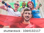 happy sport supporters having... | Shutterstock . vector #1064132117