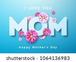 happy mothers day greeting card ... | Shutterstock .eps vector #1064136983