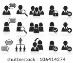 black social symbol people icons set - stock vector