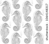 seahorse seamless pattern.... | Shutterstock .eps vector #1064148317