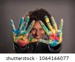 happy black woman with her... | Shutterstock . vector #1064166077