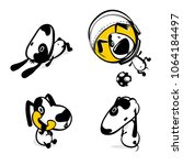 cute dog calling phone sticker... | Shutterstock .eps vector #1064184497
