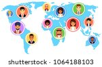 the concept of globalization in ... | Shutterstock .eps vector #1064188103