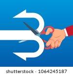 businessman cuts arrow into two ... | Shutterstock .eps vector #1064245187