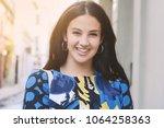 portrait of young beautiful... | Shutterstock . vector #1064258363