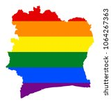 lgbt flag map of cote d'ivoire. ... | Shutterstock .eps vector #1064267363
