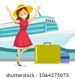 young caucasian white tourist... | Shutterstock .eps vector #1064275073